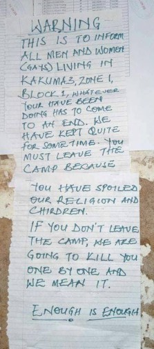 "In June, this sign warned LGBTI refugees at Kakuma Camp in Kenya that they would be killed if they remained in the camp. ""If you don't leave the camp, we are going to kill you one by one."" (Photo courtesy of Refugee Flag Kakuma)"