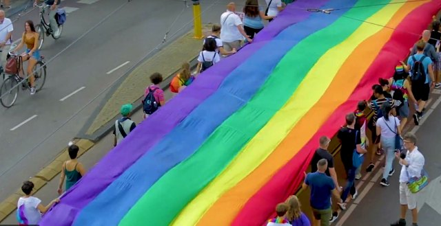 Dozens of marchers carried the rainbow banner. (Photo courtesy of YouTube)