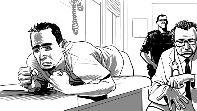 """Tunisian prosecutors have relied extensively in recent years on forced anal examinations to seek """"evidence"""" of sodomy, even though the exams are highly unreliable and constitute cruel, degrading, and inhuman treatment that can rise to the level of torture. (Illustration courtesy of HRW)"""