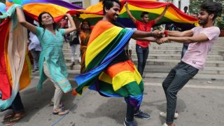 In September 2018, gay rights supporters in Bangalore, India, celebrate the Supreme Court ruling that overturned India's anti-gay law. (Photo courtesy of USA Today)