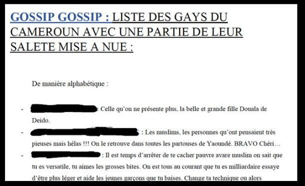 Une partie de la liste venimeuse des homosexuels presumés au Cameroun