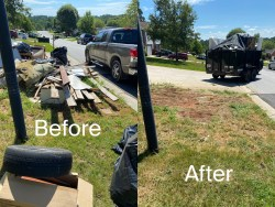 before and after wood removal, old carper removal, trash removal, dumpster rental