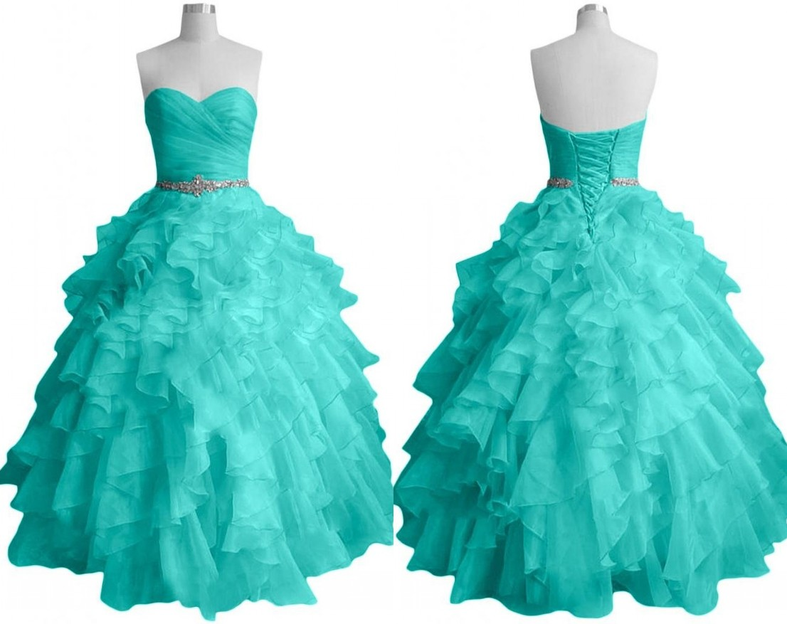 Amazing Turq Ruffles Ball Gown Quinceanera Dress Cheap