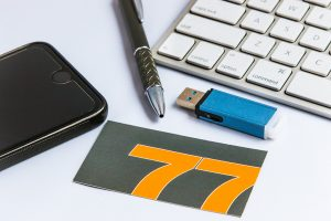 business card and keyboard