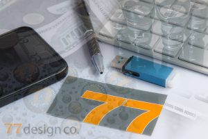 Image of 77 Design Co business card and marketing.