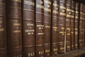 Interview-Attorney William J. McCabe. Criminal defense law. Image of Constitutional law and criminal law books.