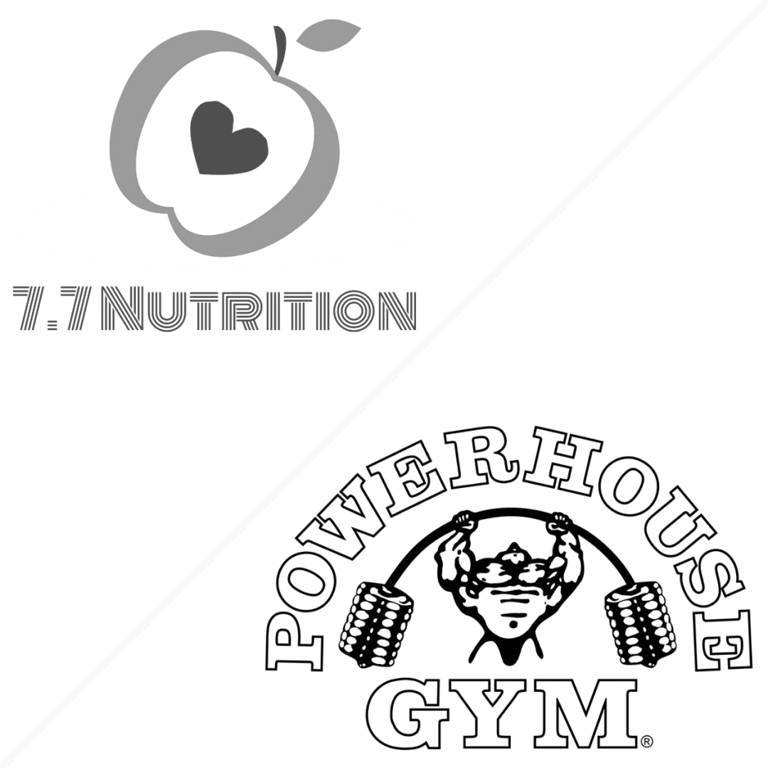 77 Nutrition Diet Fitness Logo Powerhouse Gym