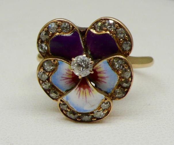 2e4ac7117fa7 14kt Yellow Gold Enamel and Diamond Pansy Ring… – Jewelry