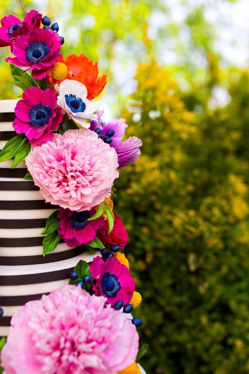 Colorful Sugar Flower Cake I Black and White Stripe Wedding Cake I Black and White Stripe Cake I Mischief Maker Cakes #blackandwhitestripecake  #mischiefmakercakes #themischiefmaker #bemischievious