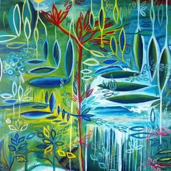 """This is just a small snippet of the entire painting. And obviously my favourite part. I still have lots to do until this commission is complete. Will need a title soon… Any ideas? I'm leaning towards """"Sea Garden. #abstractart #painting #colour #patterns #blueredgreenyellow"""