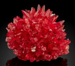 hematitehearts:Red Scalenohedral Crystals of Rhodochrosite on Manganite MatrixSize: 5 cm by 6.5 cm by 5 cm Locality: NChwaning Mines, Kuruman, Kalahari manganese fields, Northern Cape Province, South Africa