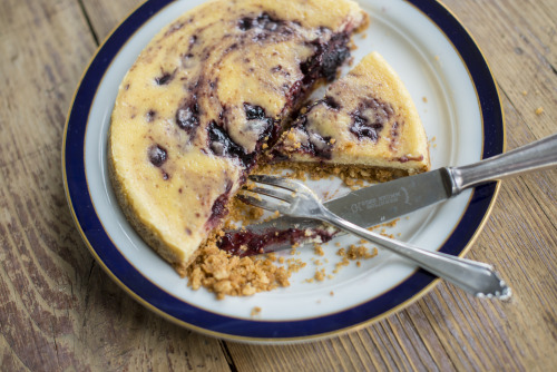 delicious cheesecake with black cherry marmalade