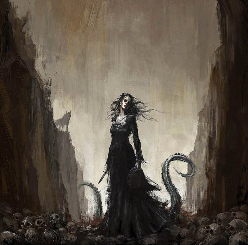 I don't think the Norse concept of Helheim was quite so bloody. It's where the non-violently dead went to hang out. But I love this painting. I presume the snake and wolf in the background are her brothers?