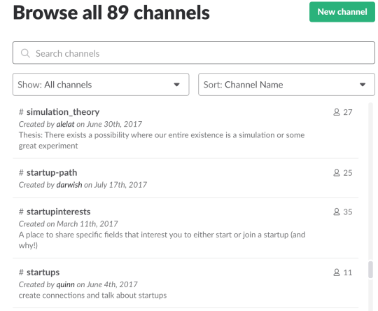 All our community slack channels