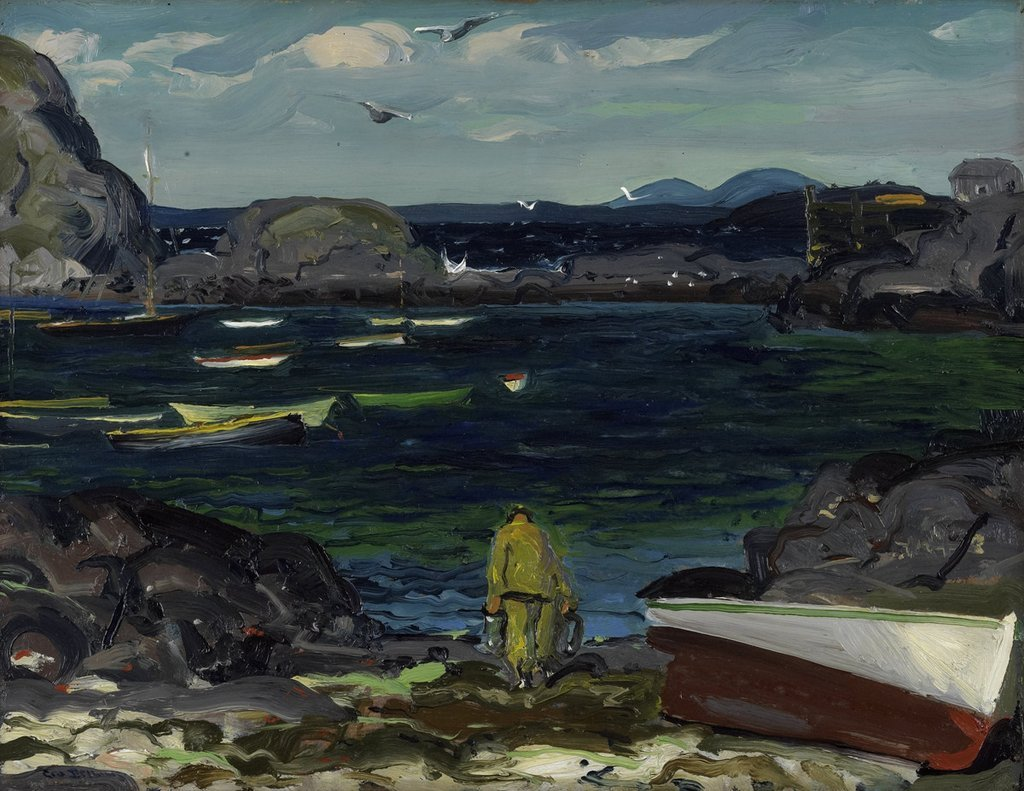 """huariqueje: """" The-Harbor-Monhegan-Coast-Maine - George Bellows, 1913 American,1882-1925 Oil on panel, 38.1 × 49.53 cm (15 × 19.5 in) """""""