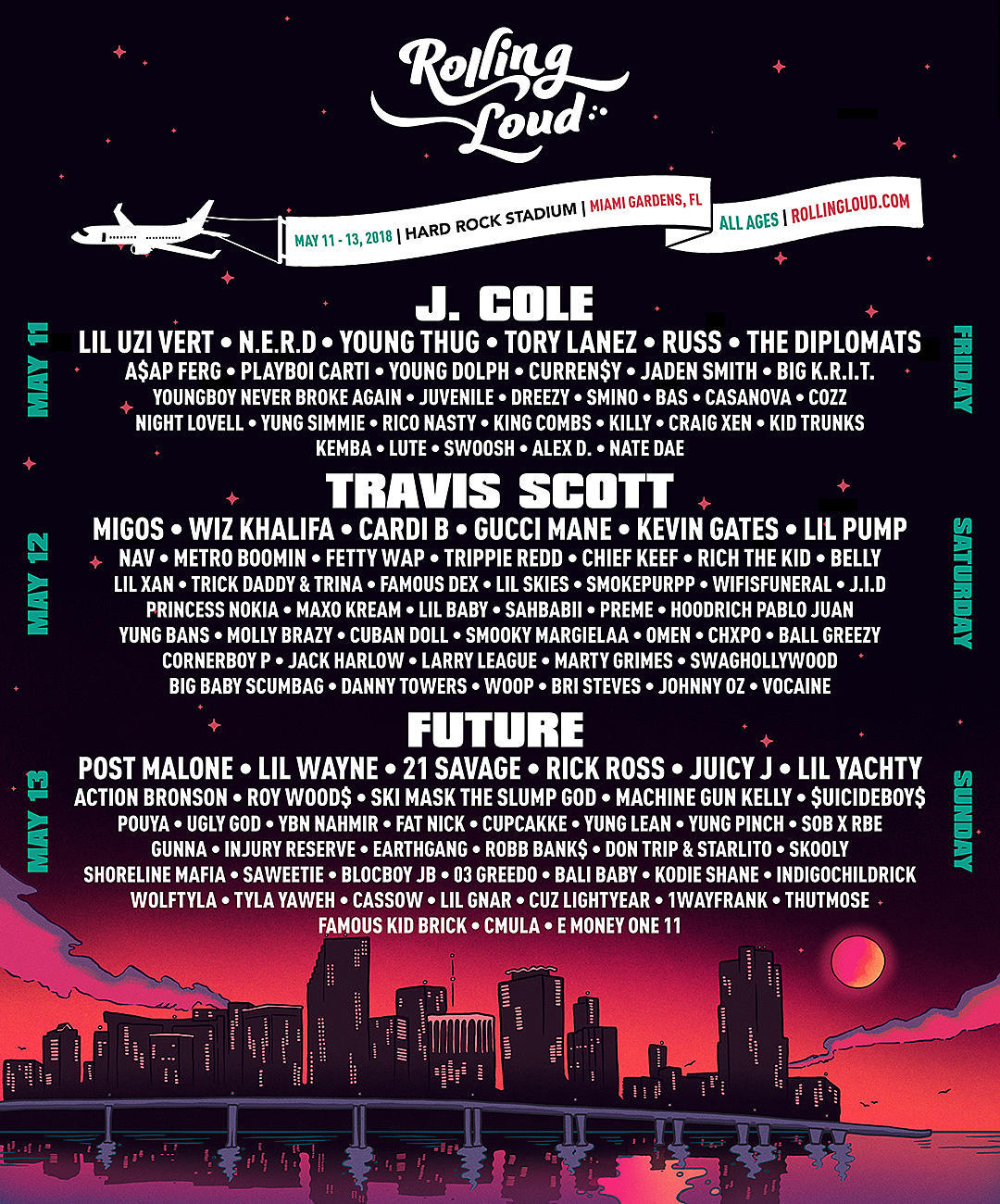 Rolling Loud 2018 Lineup Featuring J Cole Tr Rb Sagha Ultimate Oil Samo