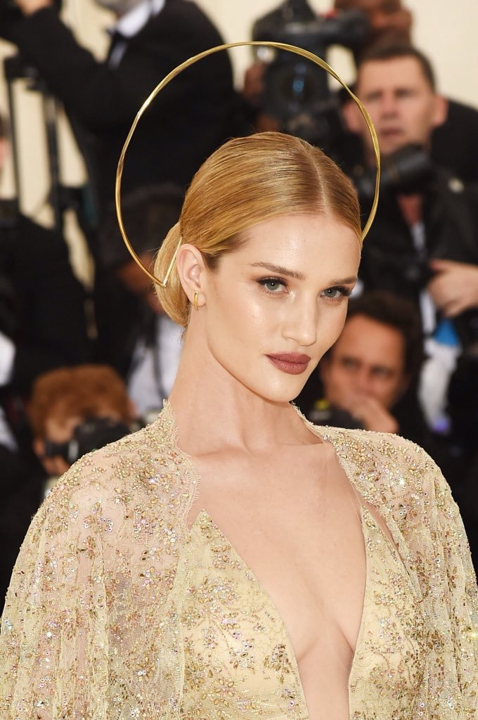 Rosie Huntington-Whiteley attends the Heavenly Bodies Costume Institute Gala at The Metropolitan Museum of Art on May 7, 2018