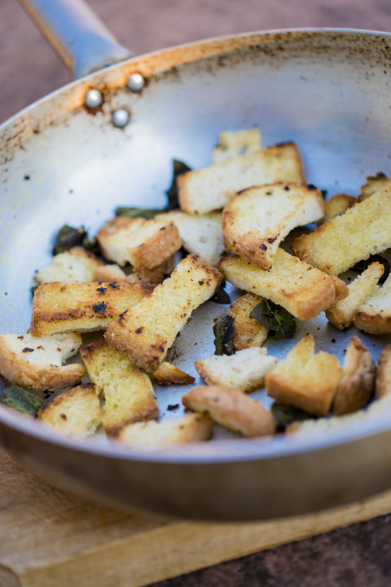 bread salad with pan fried bread with sage and garlic