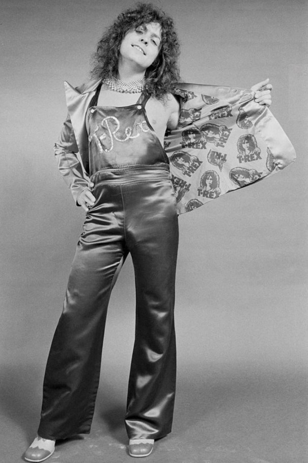 """89aedb66cb4d6a Satin overalls with """"T. Rex"""" in sequins, sequined choker, T. Rex lining in  the satin jacket, no shirt, those shoes….damn! (Michael Putland photo, 1973)"""