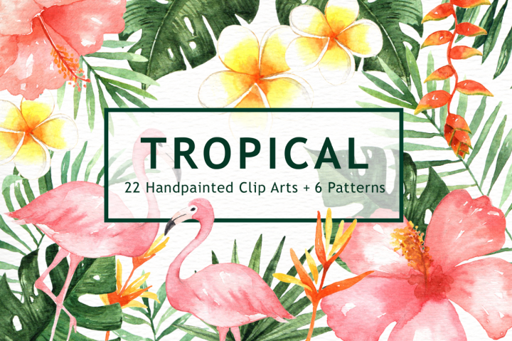 Design Graphics Tropical Leaves Watercolor Clipart 12