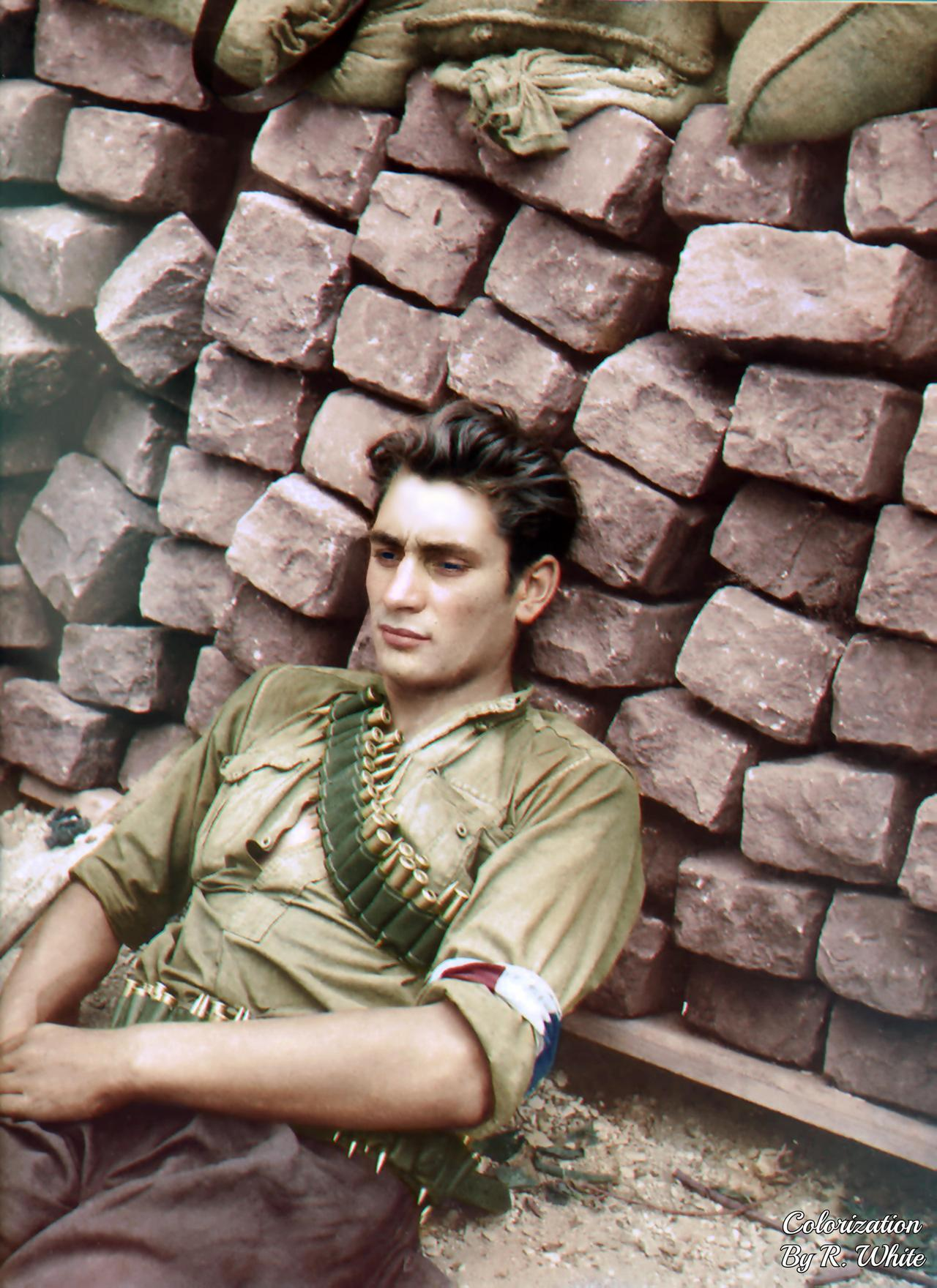 A French Resistance fighter rests against a ba… – History