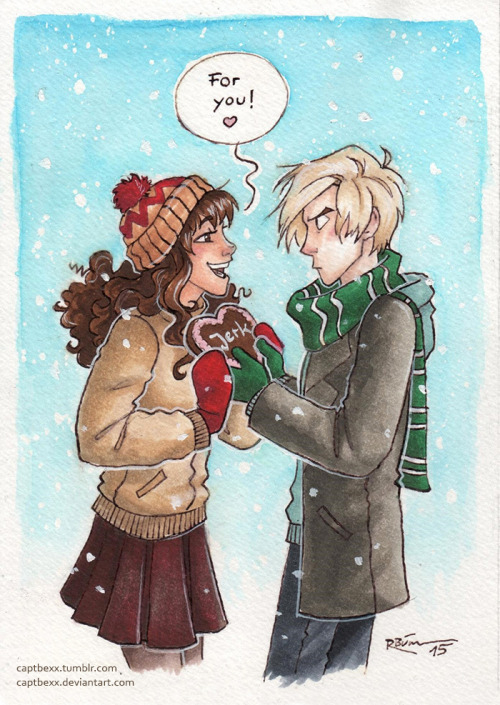 "captbexx:""It's finally getting warmer and I'm uploading a winterly Dramione picture… -_- My sister and I bought each other gingerbread hearts last winter which said ""bastard"", so…… that kind of was my inspiration… XD (We love each other.) """