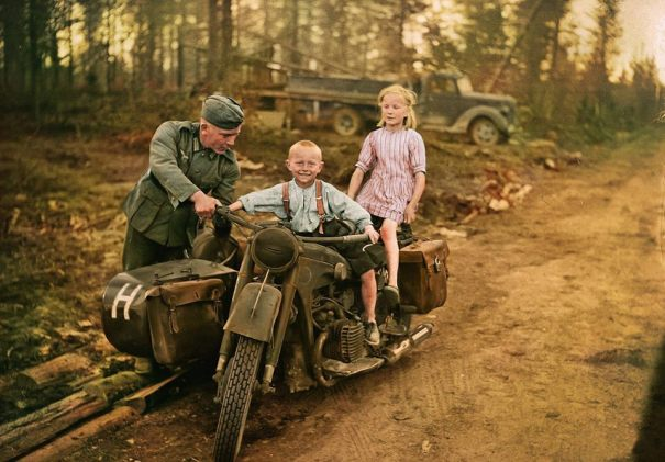 A german soldier with two finnish children on a bmw r12 history a german soldier with two finnish children on a bmw r12 fandeluxe Gallery