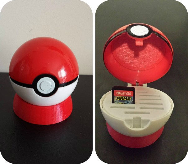 3d printed pokeball switch game case made by chinookhobbyshop ...