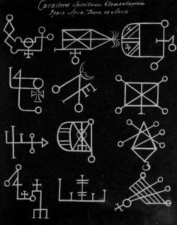 """chaosophia218:Characters of the Elemental Spirits: Fire, Water, Earth and Air, """"Compendium Rarissimum Totius Artis Magicae Sistematisatae per Celeberrimos Artis Hujus Magistros"""" (Compendium of Magic and Demonology), 1775."""