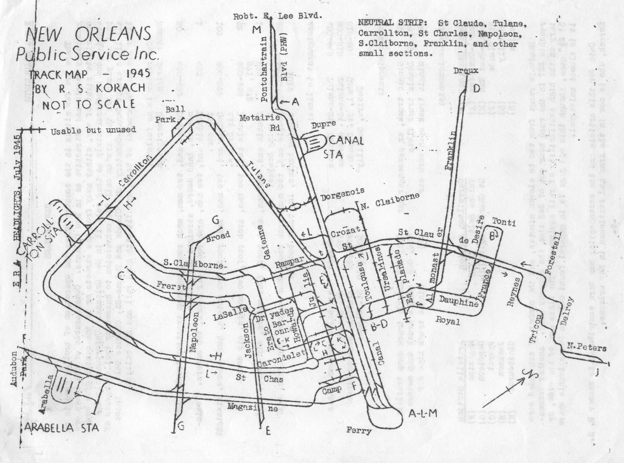Historical Map New Orleans Streetcar Trackage