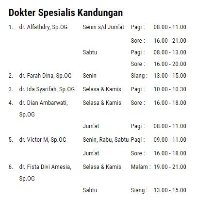 Daftar Alamat Jadwal Praktek Dokter Kandungan di Bogor JABAR lengkap dengan telepon