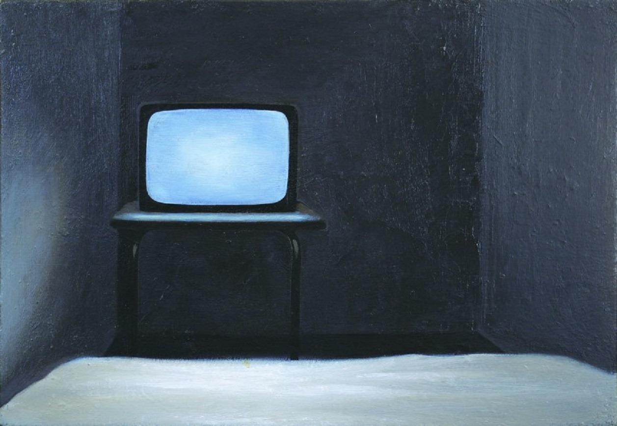 "thunderstruck9: "" Takanobu Kobayashi (Japanese, b. 1960), Television, 1993. Oil on cotton, 32 x 44.3 cm. """