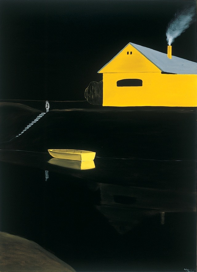 "amare-habeo: "" László Fehér (Hungarian, b. 1953) Yellow Boat, N/D Oil on canvas. """