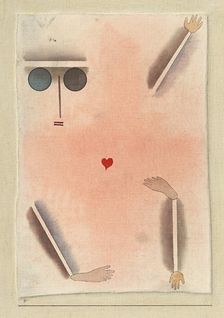 Paul Klee, hat Kopf, Hand, Fuss und Herz - Has head, hand, foot and heart, 1930. Watercolor and ink on cotton, Kunstsammlung NRW, Düsseldorf.