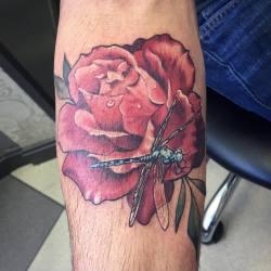 #dragonflytattoo #broadstreettattoo #rosetattoo #redrosetattoo #tribute  (at Broad Street Tattoo Parlour)
