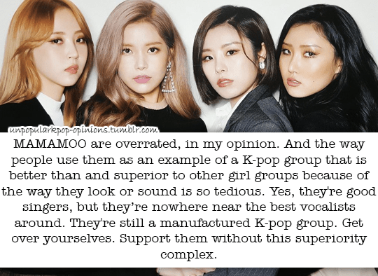 Mamamoo are overrated Imo  And the way people … – KPop Fan