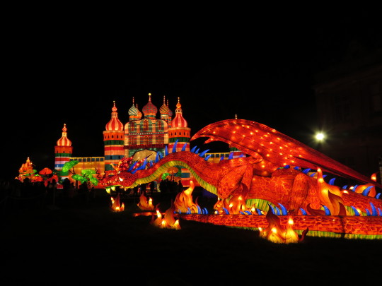 Longleat's Festival of Light celebrating fairy tales from around the world with Chinese lanterns in the shape of a Russian palace and dragon.