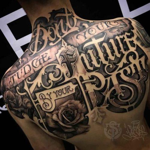 Upper Back Tattoo Lettering Best Tattoo Ideas Gallery Tattoos Inspo