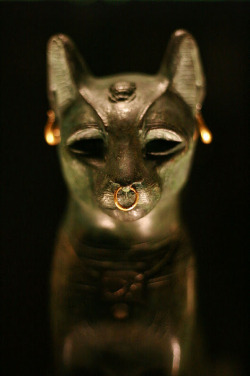 grandegyptianmuseum:Figure of goddess Bastet aka Gayer-Anderson cat (bronze and gold ornaments), from Saqqara. Late Period, 664-332 BC. Now in the British Museum.