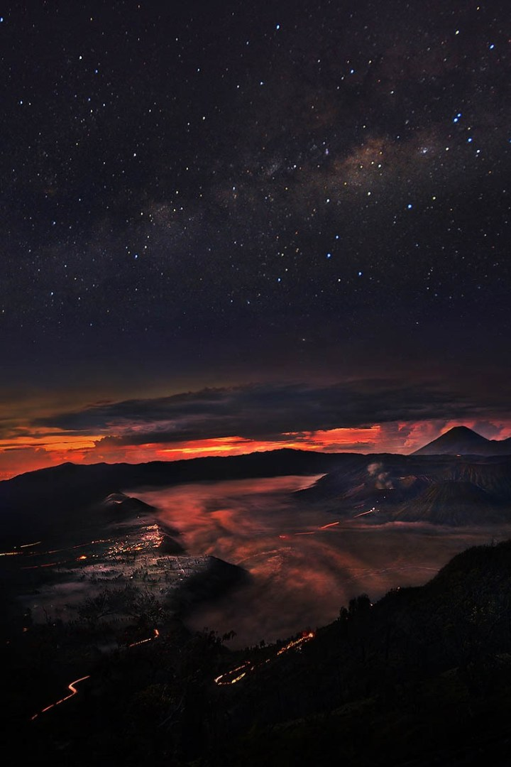 ponderation:  Bromo by Weerapong Chaipuck   Composite picture late night till twilight