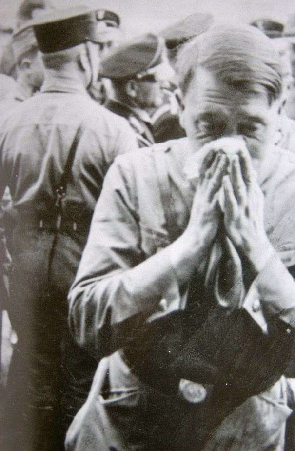 Casual Hitler, blowing his nose, 1930s  via reddit – History