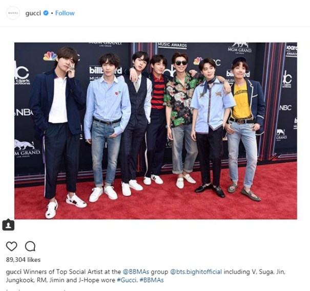 ddbfc2d01 180524: GUCCI POSTED A PHOTO OF BTS ON THEIR INSTAGRAM AND TWITTER