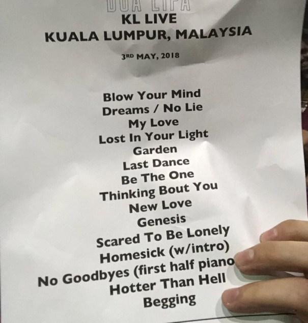 What's duas set list for her current tour… – Dua Lipa