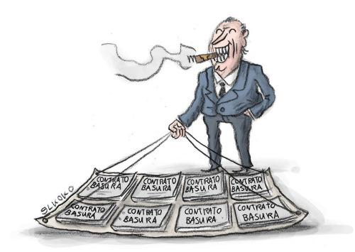 Deberíamos actuar contra los que rebajan los sueldos o recortan derechos sociales, ellos son el problema, no los manteros. Viñeta en EL ESTAFADOR http://elestafador.com/2018/08/manteros/