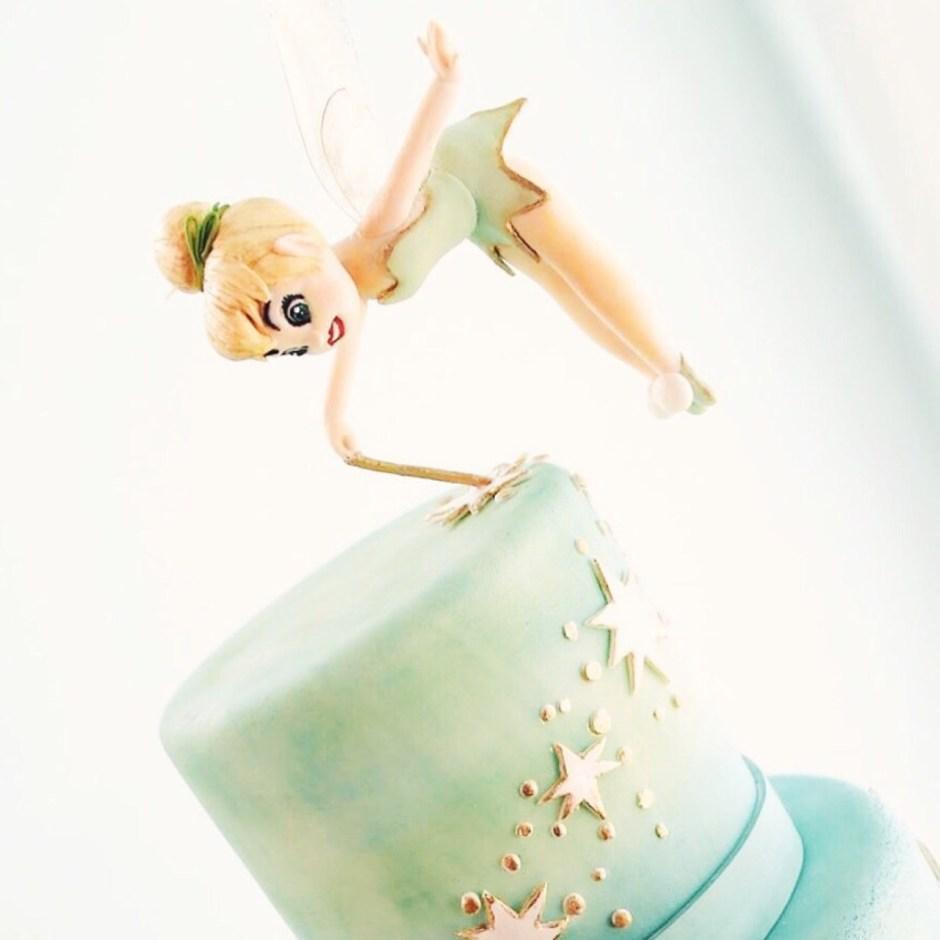 Tinkerbell Cake with Gravity-Defying Flying Tinkerbell Sugar Figure I Mischief Maker Cakes #mischiefmakercakes #bemischievious