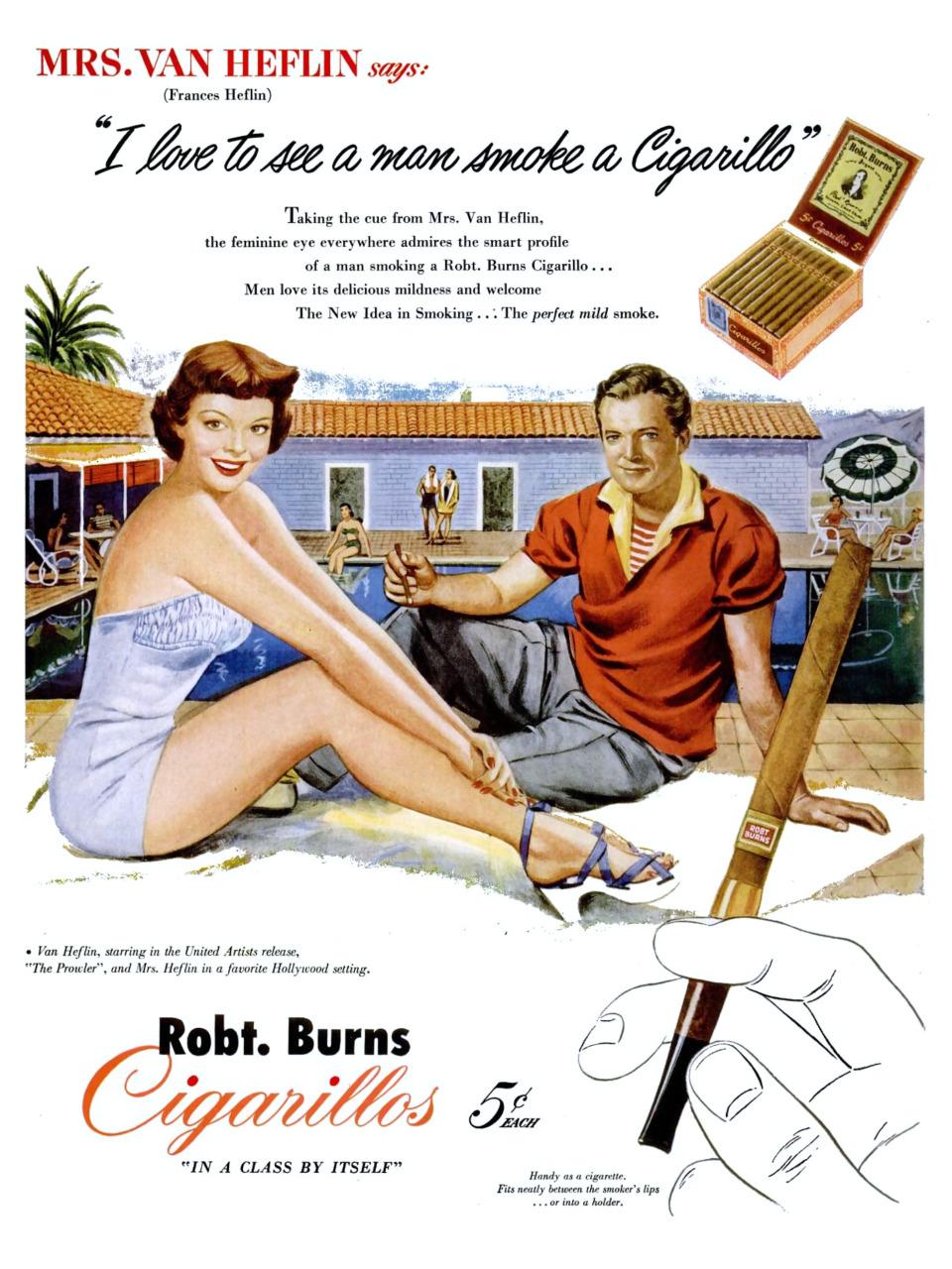 Robt. Burns Cigarillos featuring Mr. and Mrs. Van Heflin - 1951