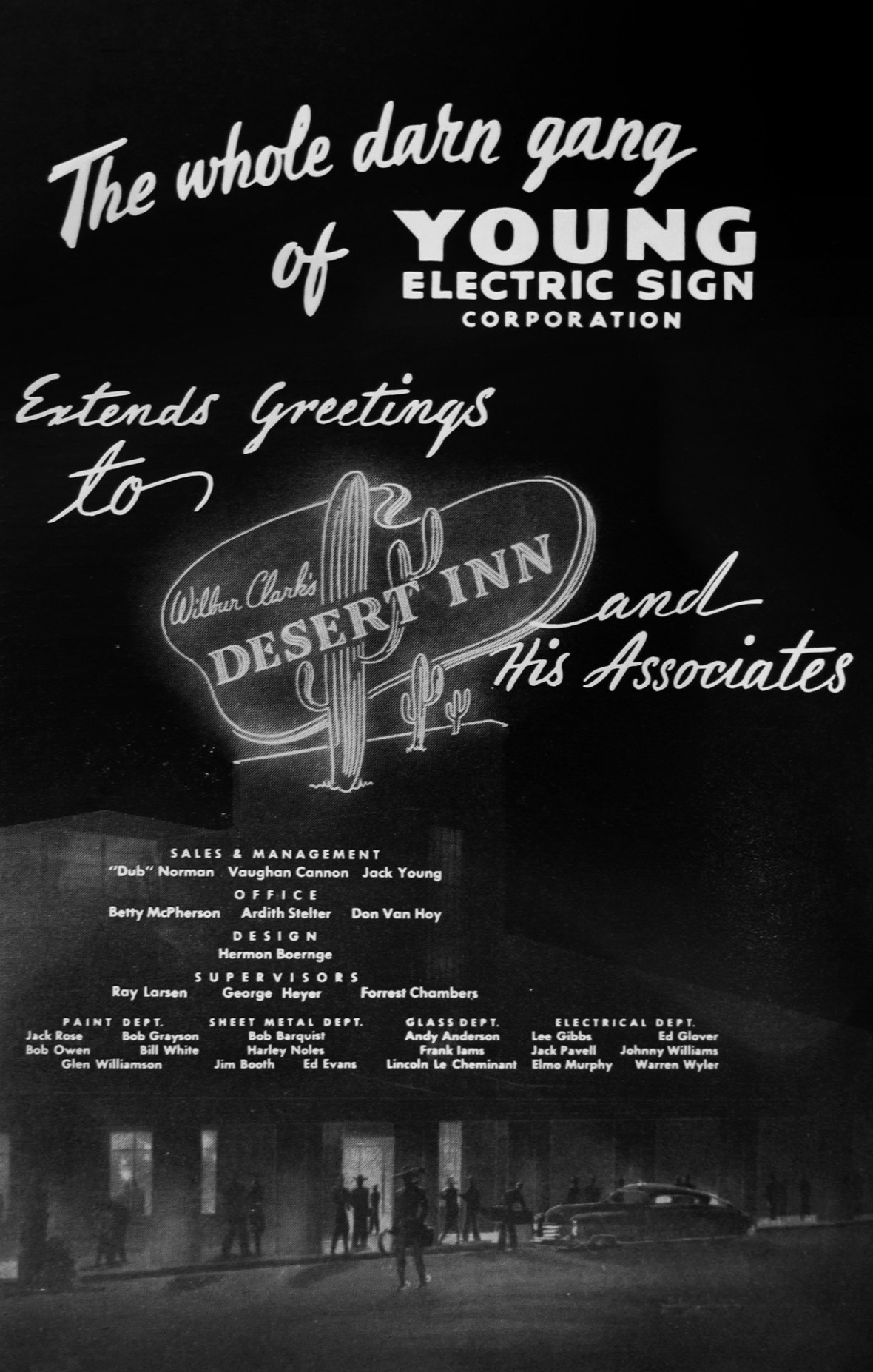 Young Electric Sign Corporation (YESCO) - published in Jack Cortez's Fabulous Las Vegas Magazine - April 1950