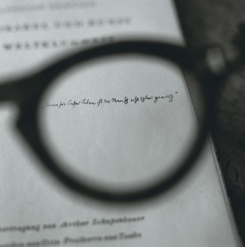 Brecht's glasses viewing a dedication by Walter Benjamin - Between visible and invisible serie - 2008 © Tomoko Yoneda