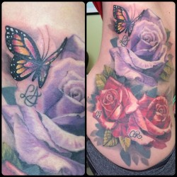 We added a lil&rsquo butterfly to this family rose tattoo. @broadstreettattoo #roses #butterfly #hiptattoo #colortattoo