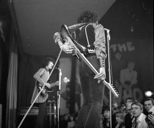 Jimi Hendrix Doing Guitar Tricks While Performing At The Star Rb
